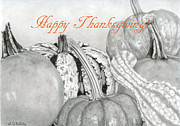 Cornucopia Drawings - Happy Thanksgiving- Autumn Harvest by Sarah Batalka