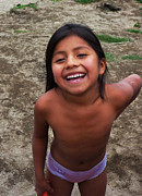 Kids Guatemala Prints - Happy Village Girl Print by Xueling Zou