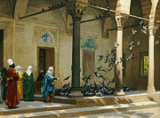 Courtyard Posters - Harem Women Feeding Pigeons in a Courtyard Poster by Jean Leon Gerome