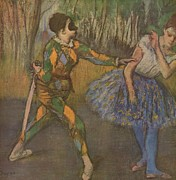 Ballet Dancer Digital Art Framed Prints - Harlekin und Colombine Framed Print by Edgar Degas