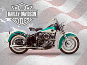 Motorcycle Art Prints - Harley-Davidson Duo-Glide Print by Mark Rogan