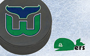 Puck Prints - Hartford Whalers Print by Joe Hamilton