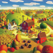 Autumn Folk Art Paintings - Harvest Bounty by Robin Moline