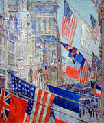 Hassam Framed Prints - Hassams Allies Day May 1917 -- The Avenue Of The Allies Framed Print by Cora Wandel