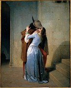 Feathered Hat Framed Prints - Hayez Francesco, The Kiss, 1859, 19th Framed Print by Everett