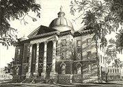 Brick Drawings Metal Prints - Hays County Capitol Metal Print by Norman Bean