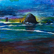 Locations Painting Prints - Haystack Rock Print by Kerrie  Hubbard