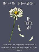 Bible Drawings Prints - He Loves Me Print by Joyce Geleynse