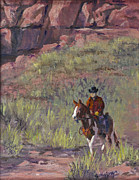 Sedona Cowboy Painting Originals - Headin Out by Bev Finger