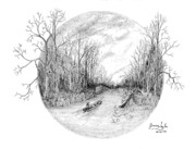 Fishing Creek Drawings Prints - Heading down the creek Print by Jimmy Taylor