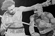 Boxing Drawings - Hearns and Hagler by Mark Beach