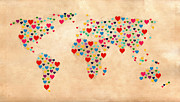 Typography Map Prints - Heart Map  Print by Mark Ashkenazi