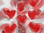 Abstract Hearts Digital Art - Hearts Afire Abstract  by Alexander Butler