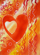 Family Love Paintings - Hearts For Valentine by Irina Sztukowski