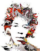 Rock Stars Mixed Media Posters - Hendrix Poster by Brian Buckley