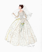 Gown Drawings - Here Comes the Bride by Linda Ginn
