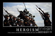 Dress Uniform Posters - Heroism Inspirational Quote Poster by Stocktrek Images