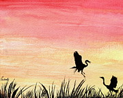 Prashant Shah - Herons at Sunset