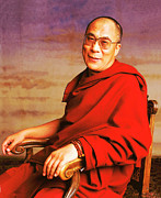 Holy Photo Posters - H.H. Dalai Lama Poster by Jan Faul