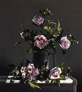 Pewter Paintings - Hibiscus by Larry Preston