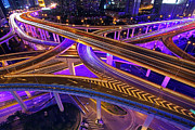 Rush Hour Framed Prints - Highway Intersection in Shanghai Framed Print by Lars Ruecker