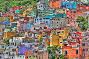 Historic Site Mixed Media Metal Prints - Hillside Barrio Metal Print by Robert  McKinstry