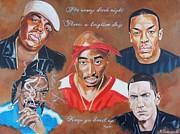Eminem Painting Posters - Hiphop Legends Poster by Keith Anderson
