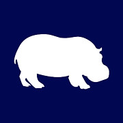 Hippopotamus Digital Art Posters - Hippo in Navy and White Poster by Jackie Farnsworth