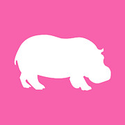Hippopotamus Digital Art Posters - Hippo in Pink and White Poster by Jackie Farnsworth
