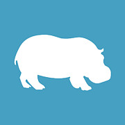 Hippopotamus Digital Art Posters - Hippo in White and Turquoise Poster by Jackie Farnsworth