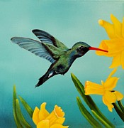 Hummingbird Paintings - Hitting The Sweet Spot by Carol Avants