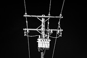 Transformer Prints - Hoar Frost Covered Overhead Electricity Transmission Lines And Pole Transformer  Print by Joe Fox