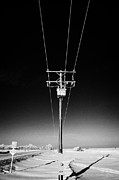 Transformer Prints - hoar frost covered overhead electricity transmission lines and pole transformer rural Canada Print by Joe Fox