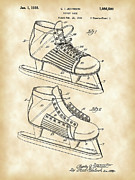 Parchment Framed Prints - Hockey Shoe Patent Framed Print by Stephen Younts