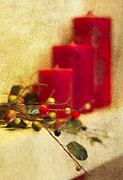 Christmas Photo Prints - Holiday Candles Print by Rebecca Cozart