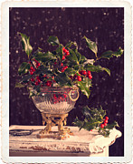 Gilt Framed Prints - Holly And Berries Framed Print by Christopher and Amanda Elwell