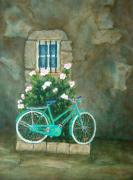 Bicycle Painting Originals - Home For Lunch In Rome by Pamela Allegretto