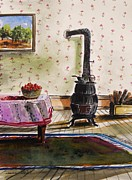 Interior Still Life Drawings Metal Prints - Homestead Room Metal Print by John  Williams