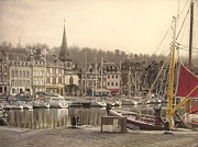Featured Pastels Prints - Honfleur harbor France Print by Eric Pouillet