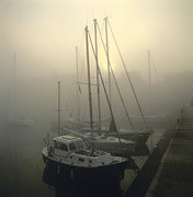 Boats In Harbor Metal Prints - Honfleur Harbour in fog. Calvados. Normandy. France. Europe Metal Print by Bernard Jaubert