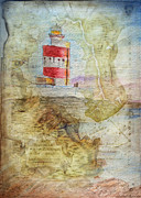 Watercolor Map Mixed Media - Hookhead lighthouse Ireland by Debbie Portwood