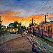 Railroad Paintings - Hope Crossing by Athena Mantle