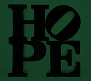 Olive Drab Prints - HOPE in GREEN Print by Rob Hans