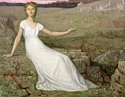 White Dress Posters - Hope Poster by Pierre Puvis de Chavannes