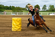Motion Prints - Horse and Rider in Barrel Race Print by Amy Cicconi