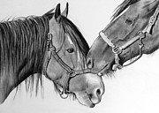 Bonding Drawings Metal Prints - Horse Love Metal Print by Joyce Geleynse