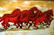 Village Scene Paintings - Horses by Sheela Padmanabhan