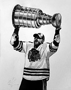Blackhawks Drawings - Hossa Hoists the Cup by Adam Barone