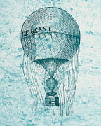 Basket Drawings Prints - Hot Air Balloon - Retro Design Print by World Art Prints And Designs