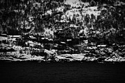 Norwegian Fishing Village Prints - Houses On The Outskirts Of Oksfjord During Winter Norway Europe Print by Joe Fox